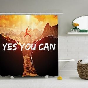Shower Curtain Motivational Quote Cliff Jump Print